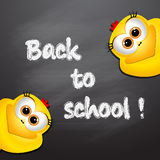Back to school. Card with funny chickens. Royalty Free Stock Photo