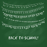 Back to school card with garlands. Back to school card. Hand drawn garlands and text on green chalkboard Royalty Free Stock Image