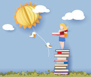 Back to school card with girl, books and sun Royalty Free Stock Photo