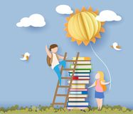 Back to school card with kids, books and sun. Back to school 1 september card with kids, books and sun on blue sky background. Vector illustration. Paper cut and Royalty Free Stock Photography
