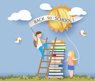 Back to school card with kids, books and sun. Back to school 1 september card with kids, books and sun on blue sky background. Vector illustration. Paper cut and Stock Image