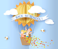 Back to school card with kids, leaves and sun. Back to school 1 september card with kids, leaves and sun shaped air balloon on blue sky background. Vector Royalty Free Stock Photos