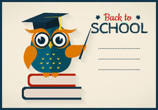 Back to school. Card with learned owl and a place for text. Back to school. Vector card with place for text. Wise owl with books and graduate cap. Flat design Stock Images