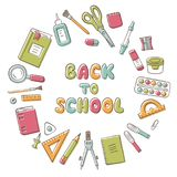 Back to school. Card with lettering and set of school element in doodle and cartoon style. Stationery. Vector. EPS 10 stock illustration