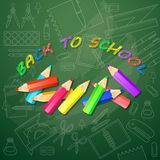 Back to school card with multicolored pencils. Vector. Back to school card with multicolored pencils and School education icon in linear style. Abstract design Stock Photos