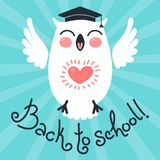 Back to school. Card with an owl. Stock Photography