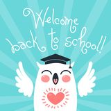 Back to school. Card with an owl. Stock Image