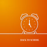 Back to school card with paper alarm clock. Royalty Free Stock Photo