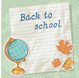 Back to school card on paper sheet with study item Royalty Free Stock Photography