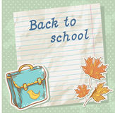 Back to school card on paper sheet with study item Stock Photo