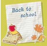 Back to school card on paper sheet with study item Stock Photography