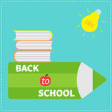 Back to school card. Pencil, light bulb idea, stack of books, apple. Flat design style. Royalty Free Stock Image