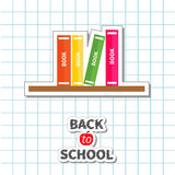 Back to school card. Pencil, light bulb idea, stack of books, apple. Paper sheet background Exercise book Flat design style. Stock Images