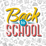 Back to school card on seamless pattern of school supplies. Black line style. Vector illustration Stock Image