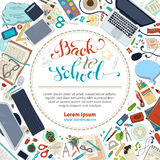 Back to School Card. School supplies, stationery and gadgets on white background. Books, pens and pencils, laptop, scissors. There is copyspace for your text in royalty free illustration