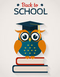 Back to school. Card with wise owl. Vector illustration. Royalty Free Stock Image