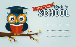 Back To School. Card With Learned Owl And A Place For Text. Stock Photos