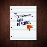 Back to school card. Wooden background, typography design. Vecto Royalty Free Stock Images
