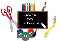 Back to School cartoon. Anthropomorphic art supplies illustrated on blackboard with text graphics Back to School vector illustration