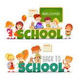 Back to school cartoon banner collection Royalty Free Stock Image