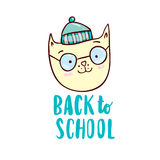 Back to school with cartoon cat stock illustration