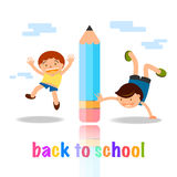 Back to school cartoon concept kids playing with pencil illustra Royalty Free Stock Images