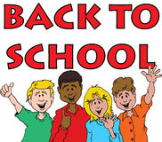 Back To School 711. Cartoon of a Group of Children Celebrating Back To School Stock Image
