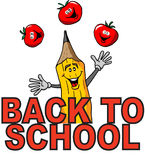 Back To School. Cartoon of a Juggling Pencil Celebrating Back To School Stock Images