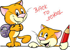 Back to school - cat character with school supplies Stock Photos