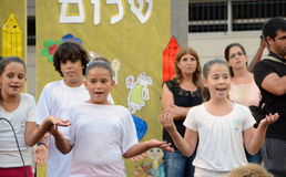 Back to school ceremony. Children aged 11-12 performing in a back-to-school welcome ceremony for first graders on August 25, 2013 in Kfar Saba, Israel Stock Photography