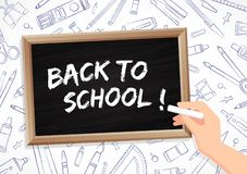 Back to school - chalk and blackboard with drawings of office supplies royalty free illustration