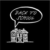 Back to school, chalk doodle, sketch on blackboard,  Stock Photos