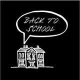 Back to school, chalk doodle, sketch on blackboard,. Illustration, education concept Stock Photos