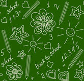 Back to school chalk-drawn seamless pattern Royalty Free Stock Images