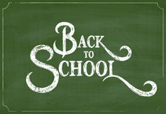Back to School Chalk Hand Drawing Greeting Card over Green Chalkboard Royalty Free Stock Photos