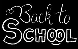 Back to school chalk lettering. Back to school black white vector illustration. White chalk Back to school inscription. Back to school lettering by chalk. Back vector illustration