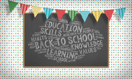 Back to school chalk word cloud, flags and blackboard Stock Images
