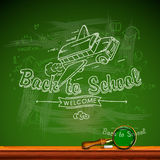 Back to school, chalk-writing on blackboard Stock Photography