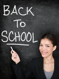 Back to school chalkboard blackboard teacher. Or woman university student. Female school teacher teaching pr college student girl writing Back to School text Stock Photography