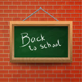 Back to school chalkboard on a brick wall. Stock Images