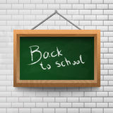 Back to school chalkboard on a brick wall. Stock Image