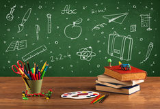 Back to school chalkboard and color pencils Stock Photo