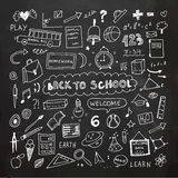 Back to school. Chalkboard doodle set. Freehand drawing Royalty Free Stock Photo