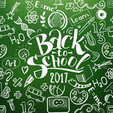 Back to school chalkboard with doodles Stock Photos
