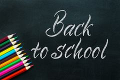 Back to School chalkboard handwritten text words with bright col stock photos