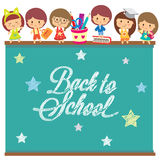 Back to school chalkboard layout design Stock Photo