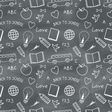 Back to School Chalkboard Pattern. Back to school chalkboard with doodles. Vector seamless pattern Stock Photo