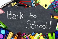 Back to School on chalkboard with school supplies frame Royalty Free Stock Photography