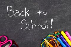 Back to School on chalkboard with school supplies Royalty Free Stock Photos