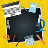 Back to school. Chalkboard with school supplies. Vector. Stock Photography